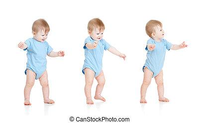 isolado, passos, fundo, bebê, branca, primeiro