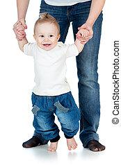 isolado, passos, tempo, bebê, primeiro, feliz