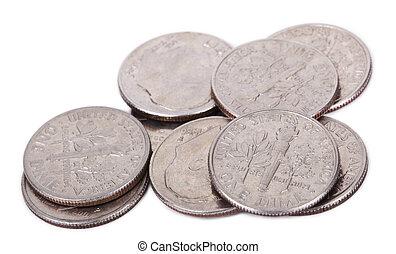 isolado, pilha, de, nós, moedas dez centavos