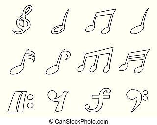 isolado, pretas, nota música, esboço, ícones, jogo