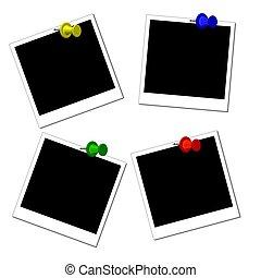 isolado, pretas, polaroid, bordas