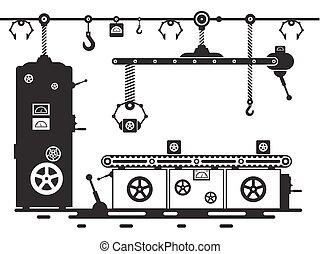 isolado, production.vintage, máquina, experiência., pretas, retro, linha, branca