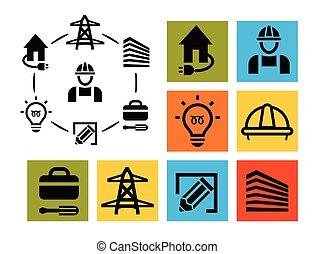 isolado, profissional, eletricista, ícones, jogo, equipamento, e, ferramentas, logotipos, cobrança, electricidade, pictograma, elementos, vetorial, ilustração