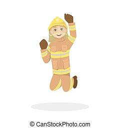 isolado, pular, fireman.