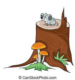 isolado, rato, sentando, branca, crescer, objeto, grande, ilustração, fundo, pequeno, cogumelos, vetorial, toco, cinzento, logo, caricatura