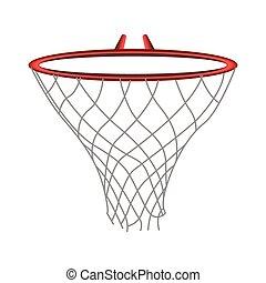 isolado, rede basquetebol