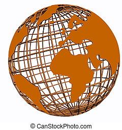 isolado, rede, globo, laranja
