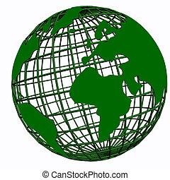 isolado, rede, globo, verde