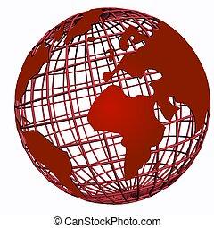 isolado, rede, globo, vermelho