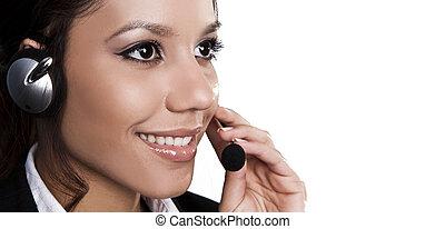 isolado, retrato, de, um, bonito, helpdesk, ou, apoio, linha, operador, responder, um, call.