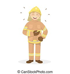 isolado, rir, fireman.