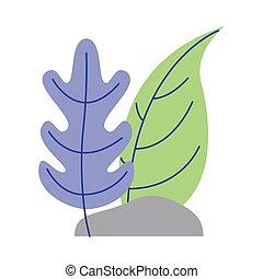isolado, rocha, vetorial, desenho, folhas