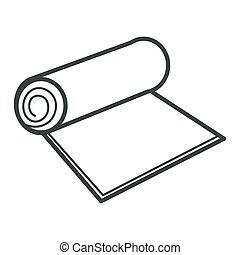 isolado, rolo, ou, objeto, tapete, material, papel, têxtil, recyclable