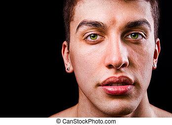 isolado, rosto, pretas, bonito, sensual, homem