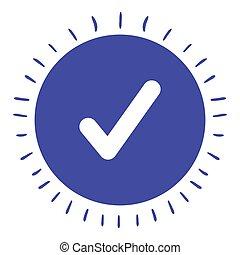 isolado, símbolo, desenho, cheque, ícone