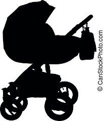 isolado, silhouette., carruagem bebê, vetorial, stroller.
