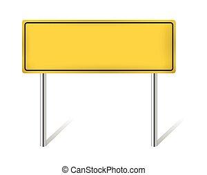 isolado, sinal amarelo, em branco, branca, estrada