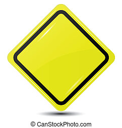 isolado, sinal amarelo, fundo, em branco, branca