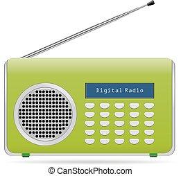 isolado, sinal, rádio, retro, fundo, afinador, branca, ondas, antigas