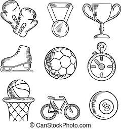 isolado, sketched, desporto, jogos, ícones