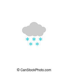 isolado, snow., ícone, pesado, vetorial, illustration., tempo