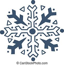 isolado, snowflake, white.