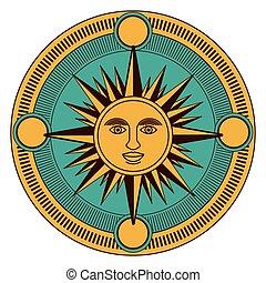 isolado, sol, dentro, compasso, desenho