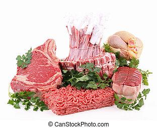 isolado, sortimento, de, carne crua