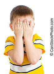 isolado, tocando, chorando, rosto, ou, escondendo, criança