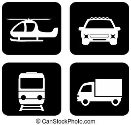 isolado, transporte, ícones