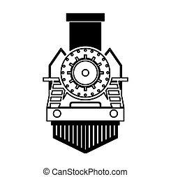 isolado, trem, silueta, vapor, ícone