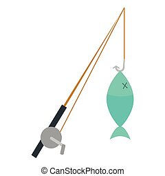 isolado, vara, pesca, ícone
