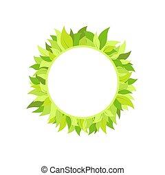 isolado, verde, luminoso, white., folhas, grinalda, redondo
