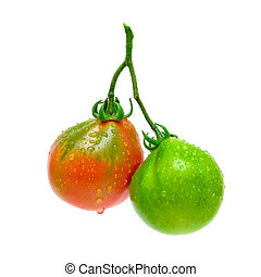 isolado, verde, tomates, fundo, branco vermelho