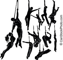 isolado, vetorial, fundo branco, silhuetas, jogo, aerialists