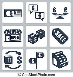 isolado, vetorial, jogo, money/shopping, ícones