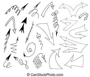 isolado, vetorial, mão, desenhado, setas, jogo, ligado, um, branca, experiência.