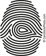 isolado, vetorial, pretas, fundo, impressão digital, branca