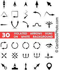 isolado, vetorial, setas, sinais, branco, fundo