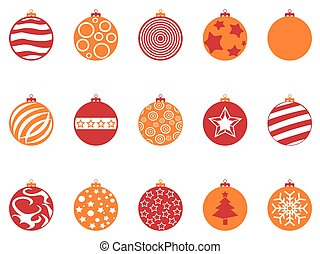 orange and red color christmas ball icons set