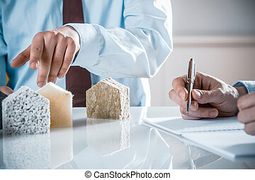 isolamento, casa, discutere, architetto, proprietario