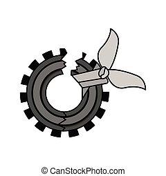 Isolatd broken gear design. Broken gear icon. cog wheel ...