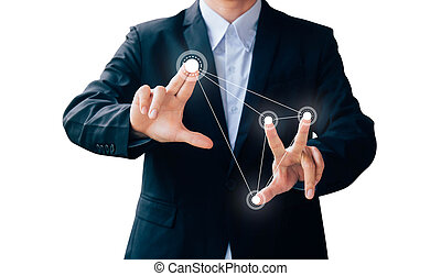 business man hand sign press button about technology