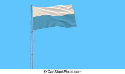 Isolate civil flag of San Marino on a flagpole fluttering in the wind on a blue background, 3d rendering
