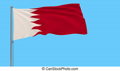 Isolate flag of Bahrain on a flagpole fluttering in the wind on a transparent background, 3d rendering, 4k prores footage, alpha transparency