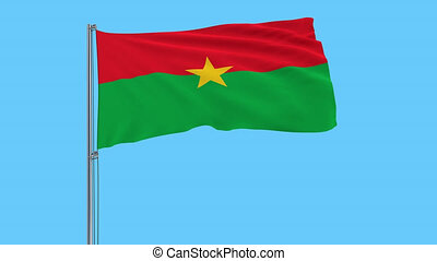 Isolate flag of Burkina Faso on a flagpole fluttering in the wind on a transparent background, 3d rendering, 4k prores footage, alpha transparency