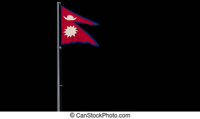 Isolate flag of Nepal on flagpole, 4k prores 4444 footage with alpha