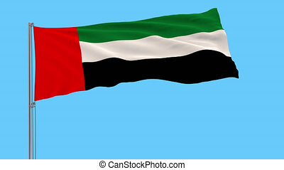 Isolate flag of United Arab Emirates on a flagpole fluttering in the wind on a transparent background, 3d rendering, 4k prores footage, alpha transparency