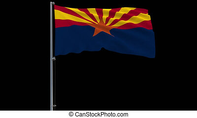 Isolate flag of United States Arizona on flagpole, 4k prores 4444 footage with alpha transparency