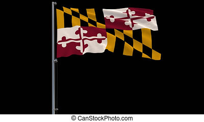 Isolate flag of United States Maryland 4k prores 4444 footage with alpha